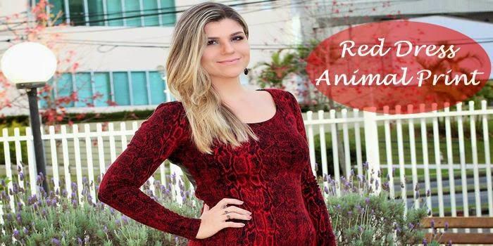 Meu look: Red Dress Animal Print