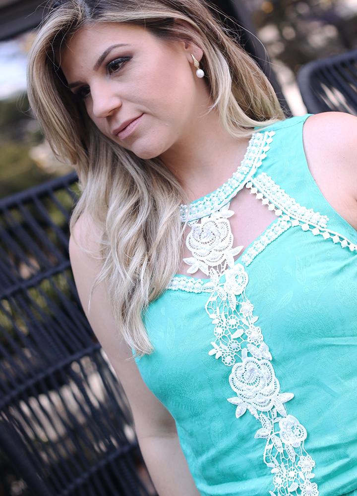 Macaquinho Verde Tiffany com Renda Paula Bastos4