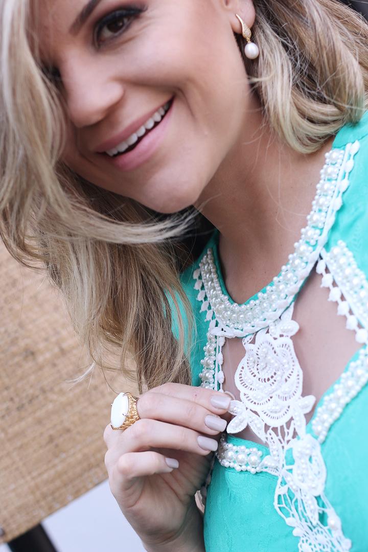 Macaquinho Verde Tiffany com Renda Paula Bastos6