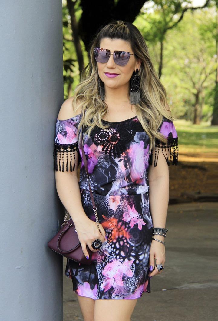 Vestido Floral e franjas Dimy Verão 16