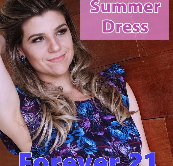 Vestido Verão Azul Royal Forever 21